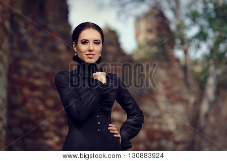 Portrait of Gothic Dark Princess at the Castle in her Kingdom