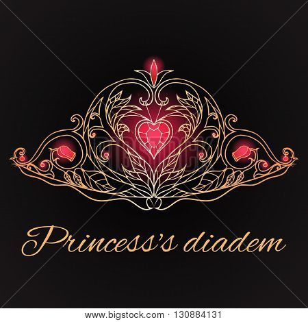 Hand-drawn princess tiara on black background. Queen Crown. Doodle elements for your design.