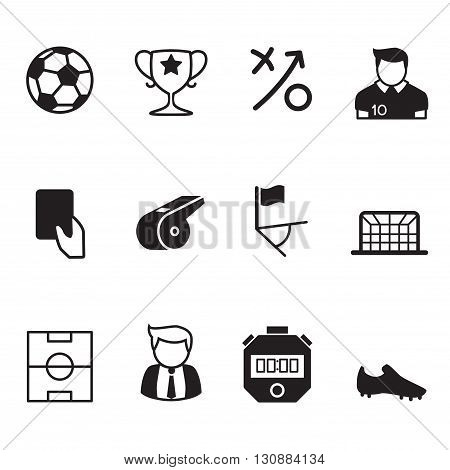 Vector black soccer & Football icons graphic design concept symbol