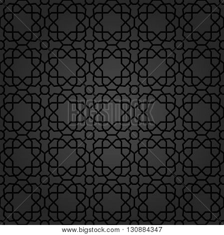 Seamless black ornament. Modern stylish geometric pattern with repeating elements