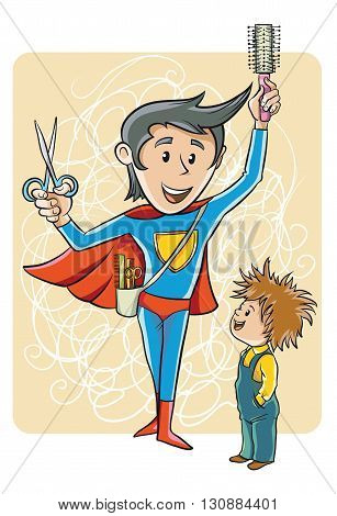 Barber in a Superman costume standing with tools in front of the boy with bad hair