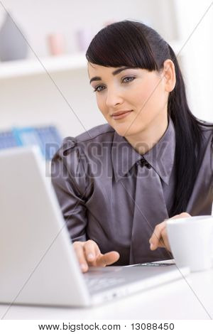 Young businesswoman working on laptop at home.