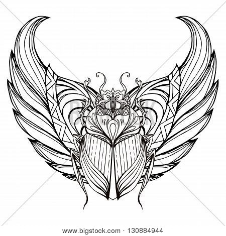 Hand drawn vintage scarab with wings. Insect with doodle pattern. Vector element for tattoo sketch printing on T-shirts postcard and your design