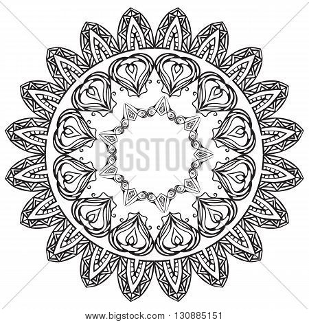 Set of black and white round doodle frames. Vector elements for the registration of invitations thank-you letters postcard and your design