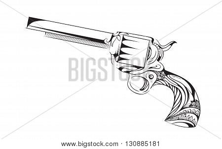 Hand drawn revolver with boho pattern. Vector vintage element for tattoo design printed on a T-shirt postcard and your creativity