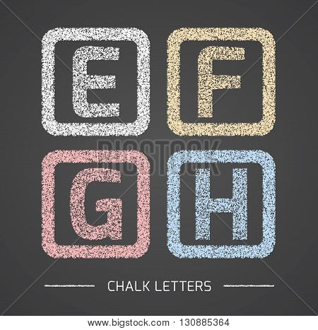 Chalk Alphabet in square frames collection. Letters E, F, G, H