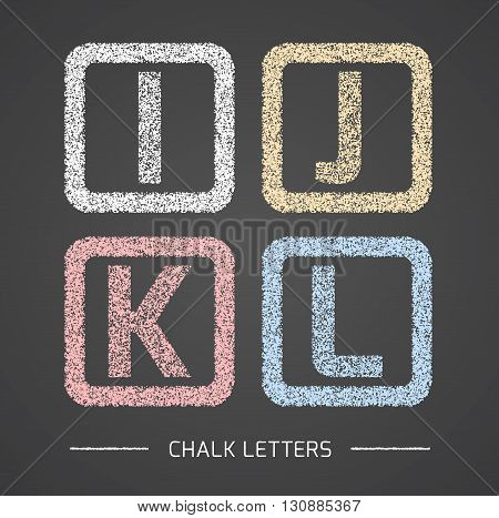 Chalk Alphabet in square frames collection. Letters I, J, K, L