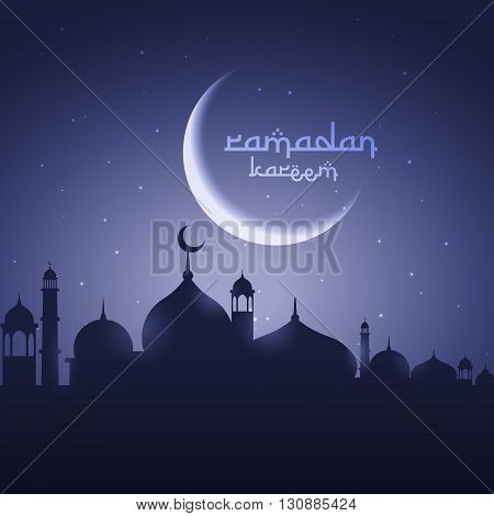 shining moon with mosque eid festival greeting vector design illustration