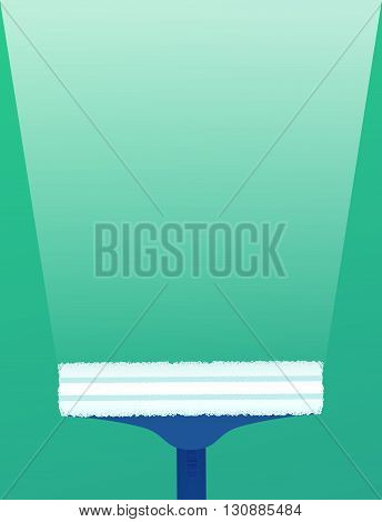 Flat illustration brushes for washing windows with a brilliant track. Vector element for your design and infographics