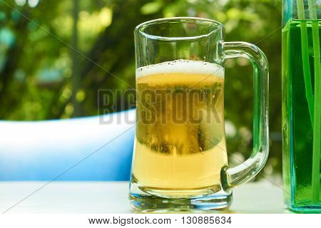 glass of beer in a restaurant close-up