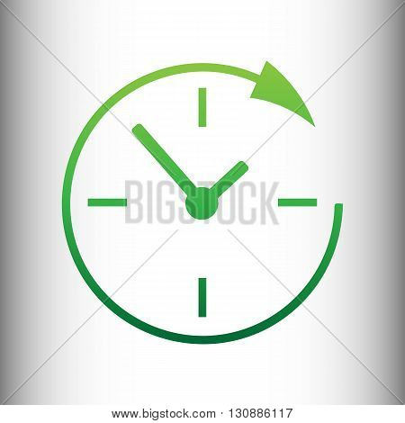 Service and support for customers around the clock and 24 hours. Green gradient icon on gray gradient backround.