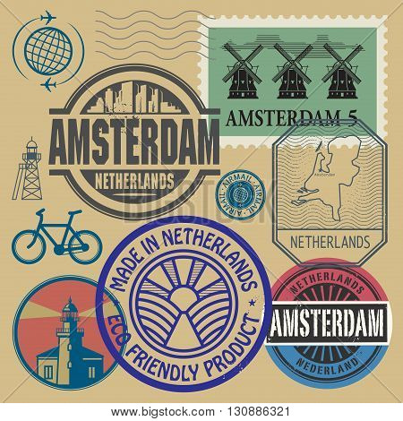 Stamps set with words Netherlands Amsterdam inside, vector illustration
