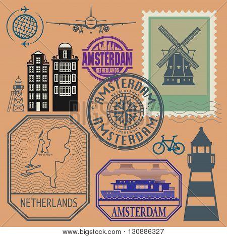 Stamps set with words Netherlands, Amsterdam inside, vector illustration