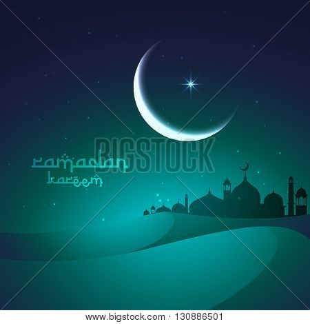 ramadan greeting with sand dunes and mosque