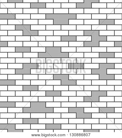 Brick wall seamless pattern. White and gray surface exterior background. Blocks and cement construction. Abstract brickwork texture prints. Design template for architecture facade Vector Illustration