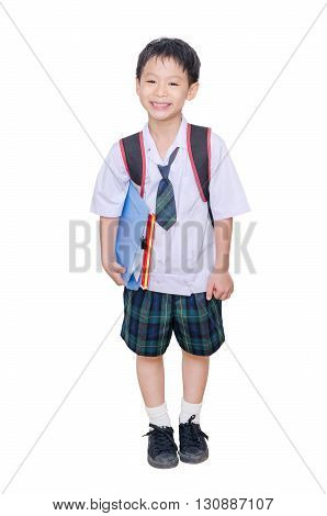 Little asian boy in school uniform over white background
