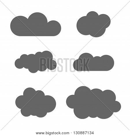 Cloud icons set. Gray outline isolated on white background. Collection template elements design. Symbol of space weather clear and nature. Abstract signs. Flat graphic style. Vector Illustration