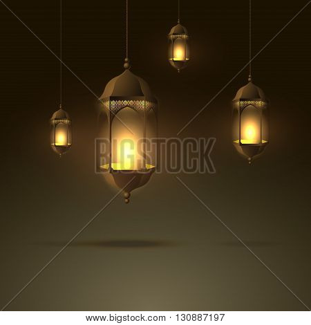 beautiful lamps hanging with glowing flame vector design illustration