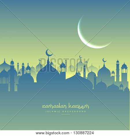 ramadan festival greeting with mosque shapes vector design illustration