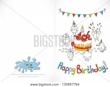 Happy birthday card. Cartoon funny bird birds near the cake with worms. Offset printing with displacement inks. Happy birthday background. Stock vector illustration.