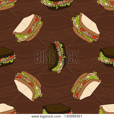Seamless pattern of two types sandwiches. Vector illustration, EPS 10