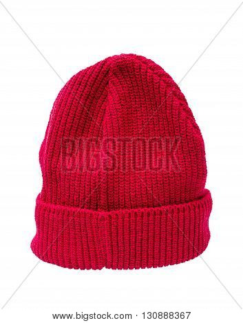 Red knit hat isolated over white with clipping path