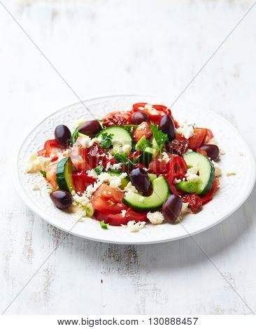Greek Salad with Dried Tomatoes and Spring Onion