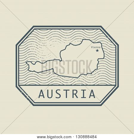 Stamp with the name and map of Austria, vector illustration