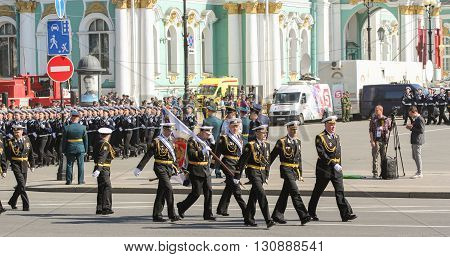 St. Petersburg, Russia - 9 May, Bearers group of officers on the march, 9 May, 2016. Festive military parade on the Palace Square in St. Petersburg.