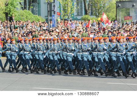 St. Petersburg, Russia - 9 May, Division of military women in the ranks of rescuers, 9 May, 2016. Festive military parade on the Palace Square in St. Petersburg.