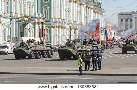 St. Petersburg, Russia - 9 May, Armored vehicles in service in the parade, 9 May, 2016. Festive military parade on the Palace Square in St. Petersburg.