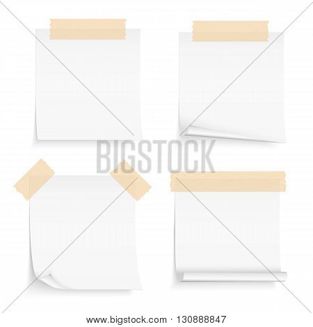 Paper notes with tape, four blank paper sheets attached by tape, vector eps10 illustration