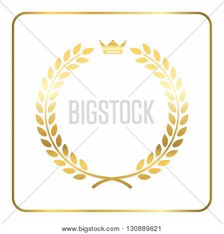 Gold laurel wreath with crown. Golden leaf emblem. Vintage design isolated on white background. Decoration for insignia banner award. Symbol of triumph sport victory trophy. Vector illustration.