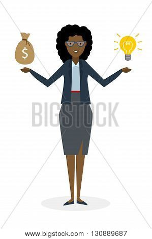 Businesswoman with idea bulb and money bag on white background. Isolated cartoon chararter. African american businesswoman investor. Innovation.