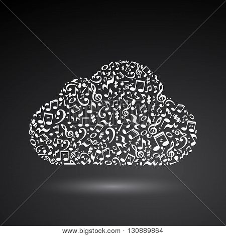 Cloud made of white notes on black background. Cloud made of notes. Musical art. Cloud shape decoration.