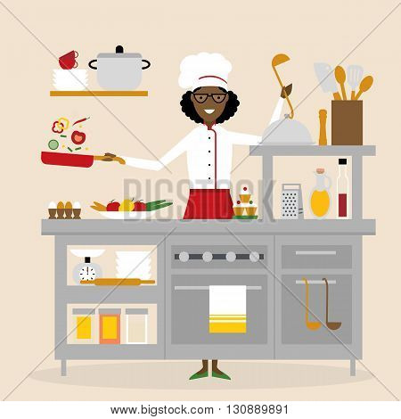 African american chef cooking. Restaurant worker preparing food. Chef uniform and hat. Table and cafe equipment.