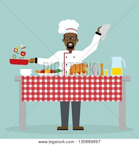 Male african american chef cooking on blue background. Restaurant worker preparing food. Chef uniform and hat. Table and cafe equipment.