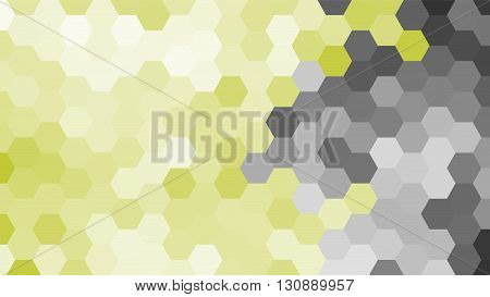 Pastel grey and yellow geometric hexagon pattern without contour. Ocean style. Polygonal shape.