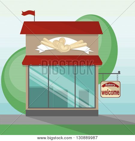 Bakery shop storefront. Shop facade with sign and banner on the street. Fresh bread and pastry. Traditional street shop.