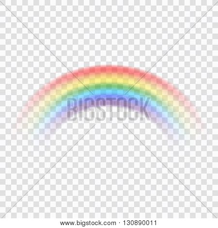 Rainbow icon. Shape arch realistic isolated on transparent background. Colorful light and bright design element for decorative. Symbol of rain sky clear nature. Graphic object. Vector illustration