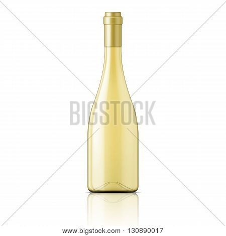 Glass bottle filled with white wine. Packaging collection. Vector illustration.