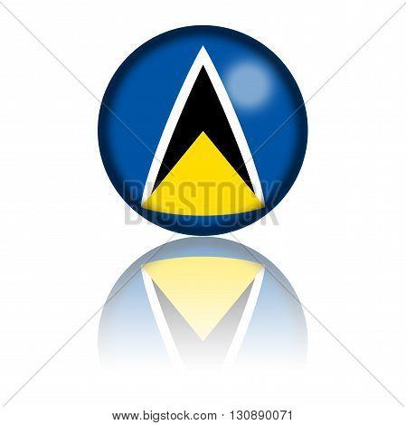 Saint Lucia Flag Sphere 3D Rendering