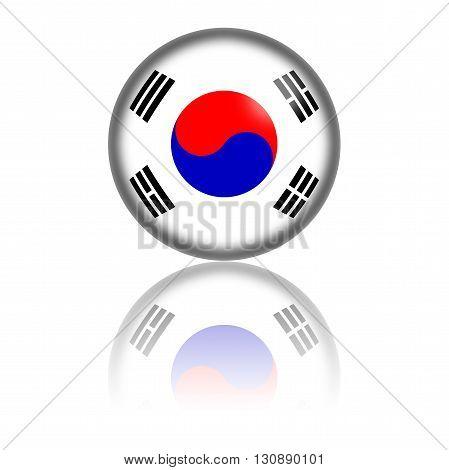 South Korea Flag Sphere 3D Rendering