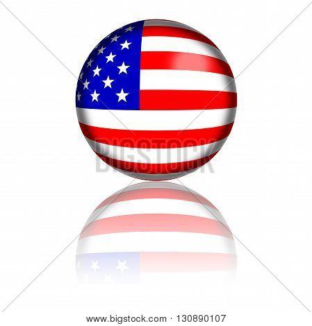Usa Flag Sphere 3D Rendering