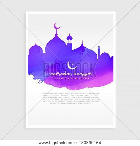 colorful ink style ramadan kareem flyer poster vector design illustration