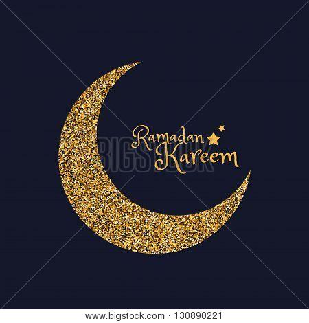 golden eid moon of ramasan season vector design illustration
