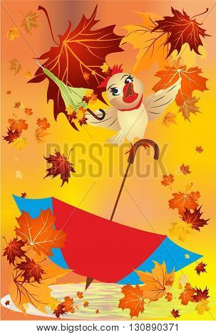 autumn composition with red blue umbrella and bird