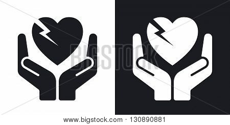 Vector fragile heart symbol. Two-tone version on black and white background