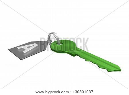 Green Key And Silver Trinket With Silver Ring