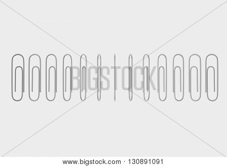 Paperclip for paper documents. Rotation of the paperclip. 3D illustration.